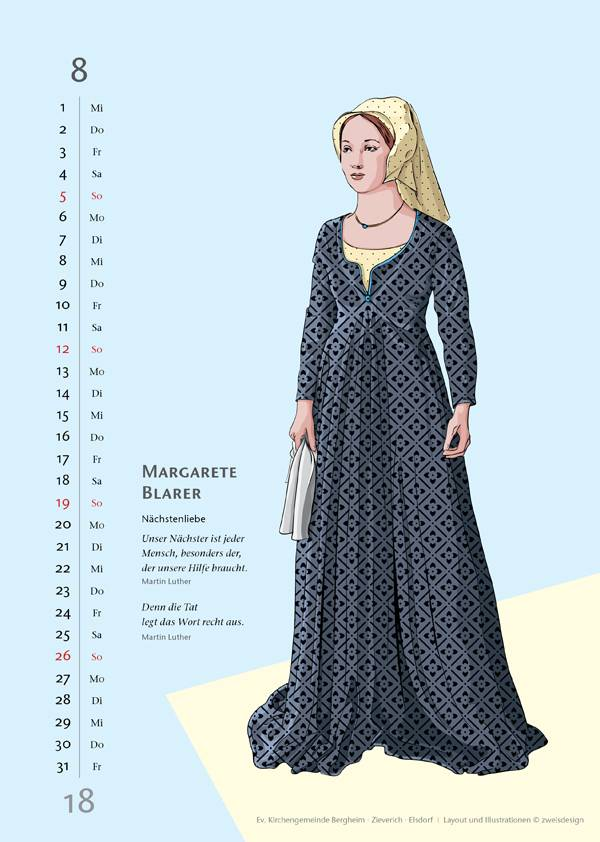 zweisdesign Illustration Kalender August